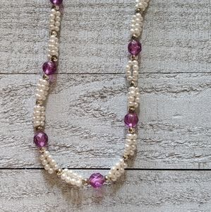 Faux Pearl and Amethyst Necklace
